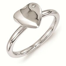 Sterling Silver Stackable Heart Ring Rhodium Plated Diamond Accent QSK1602