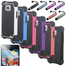 Pen+Hybrid Rugged Rubber Hard Case Cover Samsung Galaxy S2 II i9100+Screen Guard