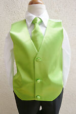 NEW APPLE GREEN VEST WITH LONG TIE SET FOR BOY & TODDLER  TUXEDO SUIT ALL SIZE