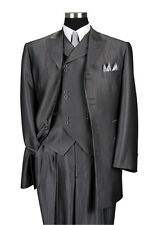 "Men's 3 Piece Gray Luxurious Wool Feel Herring Bone Stripe 35"" Jacket  5264"