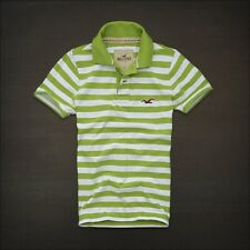 NWT Hollister HCO Men's Striped Muscle Polo L XL Tee Shirt Top Green White NEW