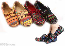 Women's Casual Walking Flats Ballerinas Stripe Canvas Lace Up Sandle Shoes NEW