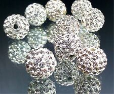 EIMASS® White Crystal Clear Shamballa Diamante Clay Ball Beads, Bling Gems