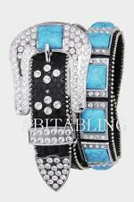 COWGIRL Western LEATHER Belt Bling TURQUOISE Conchos Rhinestone S M L XL