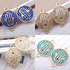 2pcs Side Ways Crystal Rhinestones hand in round Bracelet Connector Charm curved
