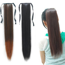 Women Synthetic Long Straight Ponytail Drawstring Hairpiece Hair Extensions
