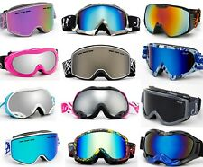 Snow Ski Winter Goggles Black Matte White Camo Green Anti Fog Dual Lens Adult