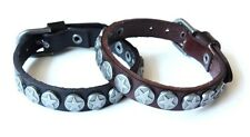 NEW Leather Stud Metal Buckle Bracelet Wristband Vintage Cuff Brown Black