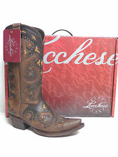 Lucchese Ladies Western Boots M5015 Stud Scarlette Calf Brown Calf Made USA