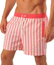 GERONIMO Fashion Swimshorts Mens Red Stripes Shorts , Swimming Striped,Swimwear