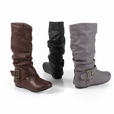 Glaze by Adi Slouchy Flat Boots with Side Buckle