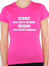 SCIENCE FLIES TO MOON RELIGION BUILDINGS -Atheism/Atheist Themed Women's T-Shirt