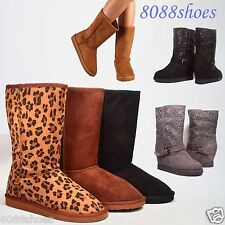 Women's Casual Cozy Wedge Flat Heel Mid Calf Winter Boot Shoes Size 5.5 - 10 NEW