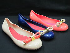 SALE LADIES JELLY DOLLY STYLE SHOE WITH DECORATIVE BOW 'F8804' ORANGE OR CREAM