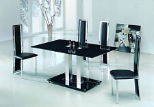 SAVIO LARGE GLASS CHROME DINING ROOM TABLE & 4 CHAIRS SET- 150 cm - IJ601-896