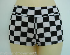 Hotpants Black and White Check Lycra Kids 4 6 8 10 12 14 Dance Gym Cal Shorts