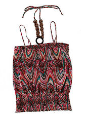 No Boundaries Women's Ladies Smock Tube Top Blouse with Wood Necklace M L XL XXL