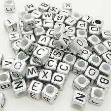 100 x 6mm Silver Black Letter Alphabet Loose Pony Cube Beads Mixed Single A-Z UK