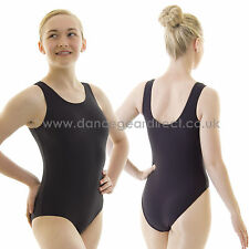 Girls Plain Tank Sleeveless Dance Ballet Leotard Black Shiny Nylon Lycra Childs