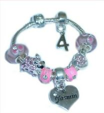 CHILDRENS/GIRLS PERSONALISED NAME/INITIAL & AGE CHARM BRACELET PINK SPARKLE