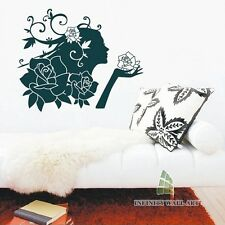 Beautiful Flower Girl Wall Stickers, UNI Design Wall Decals mural decor -- PD86