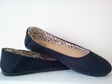 WOMENS BLACK CANVAS FLATS SHOES SLIP ON FREE SHIPPING BALLET SIZE 5-10