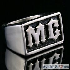 Men's Bling 316L Stainless Steel Alphabet Ring Cool R4V7