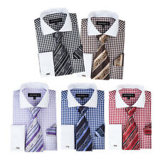New Men's George Stylist Clean Contrast Color 3 Pieces Set French Cuff Sty- 400
