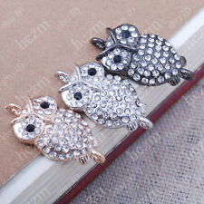 crystal rhinestone night owl bracelet connector sideways findings bead charm