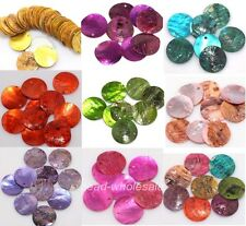 50pcs Mussel Shell Flat Round Coin Charm Beads 18mm 9 Colours You Can Choose
