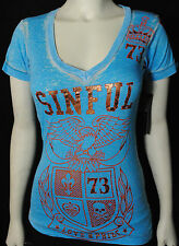 NWT SINFUL BY AFFLICTION WOMENS S/S 'calera' V-NECK BURNOUT T-SHIRT SZ: S, M, XL