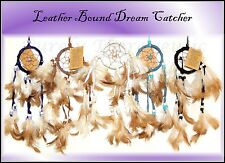~LEATHER BOUND NATURAL DREAM CATCHER~Natural Feathers~Indian~Home~Office