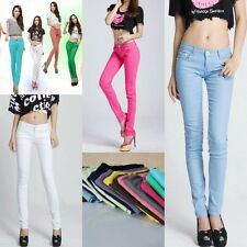 Hot Candy Color Womens Stretch Pencil Pants Casual Slim Skinny Jeans Trouser New