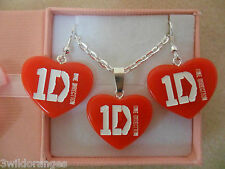 1D One Direction Necklace Earrings Set Silver Plated
