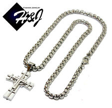 "24""MEN's Stainless Steel 4mm Silver Smooth Box Chain Necklace Cross Pendant*N"