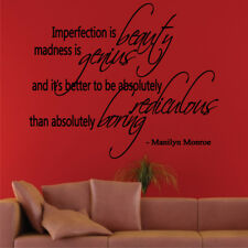 BEAUTY GENIOUS REDICULOUS BORING wall quote Marilyn Monroe room decal