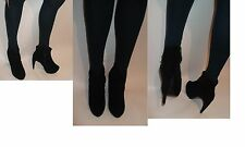 Women black faux suede zip platform ankle high heel Stiletto boots UK size 3-8