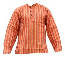 Grandad Cotton Shirt With Orange Stripes,Colourful,Hippie Clothing,Boho