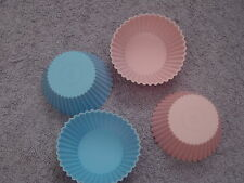 3 x Silicon Round Cupcake Moulds for Soap, Candle Making, Baking Pink Blue