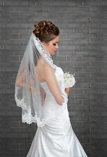 """New 1 Tier Ivory / White Wedding Bridal Elbow Veil With Comb & Lace Edge 32"""""""