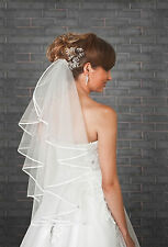 "New 1 Tier Ivory White Wedding Bridal Elbow Satin Edge Veil Length 28"" with Comb"