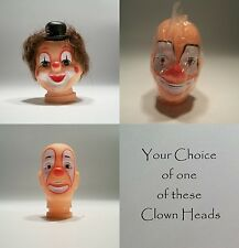 Your Choice of One / Three Clown Heads for Crafting Sewing Projects Doll Making