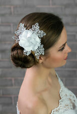 NEW Bridal Wedding Ivory/White Satin Lace Rose Flower Corsage Hair COMB (G-03)