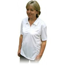 LADIES EMSMORN SPORTEX ZIP TOP WHITE BOWLS SHIRT SIZE - 10 - 24