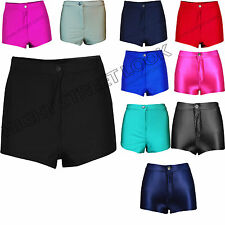 NEW LADIES HIGH WAIST AMERICAN SHINY DISCO SHORTS SEXY HOT WOMENS PANTS SIZE6-14