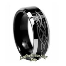 8mm Black Ion Plated Laser Engraved Tungsten Mens Wedding Ring SZ 9,10,11,12,13