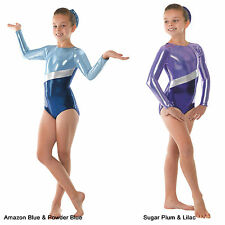 Metallic Gymnastic Leotard - Plum and Blue Shiny Lycra Dance Leotards Gymnastics