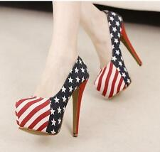 Sexy Party Pumps Shoes American Flag Stiletto platform High Heels 14cm Heels Hot