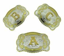 Initial Letters Western Style Cowboy Rodeo Gold Large Belt Buckles A-Z Closeout.