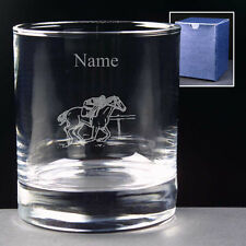 PERSONALISED HORSE RACING GLASS ENGRAVED 10oz or Hi-ball NEW Equestrian Gift